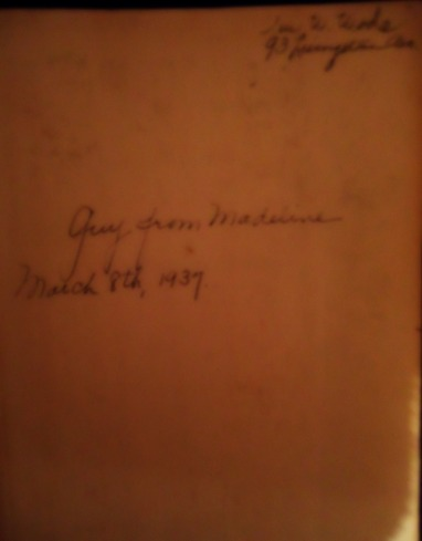 Inscription from my First Edition of Gone with the Wind